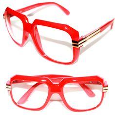 3d9f464673df Men s Women s Vintage 607 Hip Hop Clear Lens Eye Glasses Run DMC Red Gold  80 s  Stars  Square