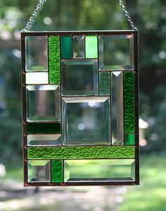 Stained Glass Bevel and Green Panel