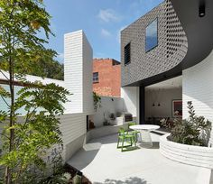 Make Architecture has added a brick extension to a Victorian cottage in Melbourne, which curves around a secluded courtyard Australian Architecture, Australian Homes, Architecture Design, Melbourne Architecture, Architecture Board, Contemporary Architecture, Brick Extension, Weatherboard House, Two Bedroom House