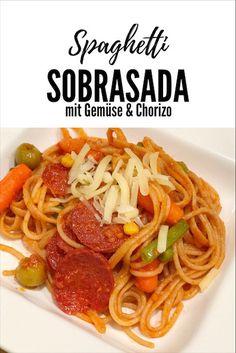 Gemüse-Spaghetti Sobrasada mit Chorizo und Gemüse