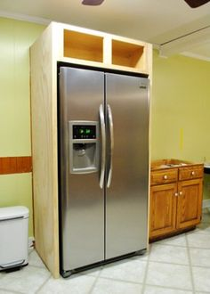 [orginial_title] – Stephen Shafer How To Build In Your Fridge With A Cabinet On Top YHL — great resource on building a custom-sized fridge frame (if your budget doesn't run to a counter-depth fridge! Diy Kitchen Cabinets, Kitchen Redo, Home Decor Kitchen, Kitchen Furniture, New Kitchen, Kitchen Storage, Home Kitchens, Kitchen Ideas, Refacing Cabinets