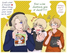 Hetalia France, England, and America. LOL XD FRANCE WOULD FIND THAT! ENGLAND WOULD TAKE THOSE PICTURES AND AMERICA WOULD BE CREEPED OUT BY THAT!