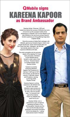 """Kareena Kapoor is a brilliant actress."" Says Zeehsan Akhtar, CEO Qmobile - BrandSynario"