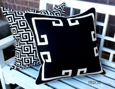 Greek Key Aegean Fretwork Black and Off White- Pillow Cover