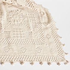 Manta Crochet Cuadros - Mantas - Cama | Zara Home España