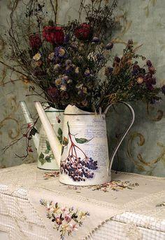 Gießkanne Provence 37,5 cm Gießkanne im Landhausstil mit Lavendel Motiv