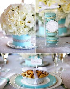 Tiffany Blue Christmas Table. Love the plate and ribbon detail instead of a blue runner and macarons as favors...yum!
