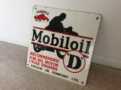 Mobil Oil Motorcycle gas porcelain sign  Mobil by Chemical Corporation (UK) Ltd www.chemcorp.co.uk