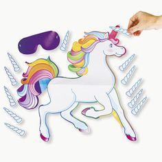 Pin the Horn on the Unicorn Games Pin the Tail Games Blindfold Poster DB