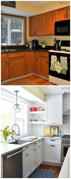 KITCHEN MAKEOVER REVEAL: before and after kitchen renovation with white & gray cabinets, open shelving, subway tile backsplash, quartz countertops, and layers of color. This kitchen is gorgeous! Check out the entire renovation process @ www.JennaBurger.com