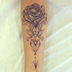 Antique Black and Grey Rose Tattoo.
