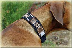Hund: Halsbänder - Halsband, Hundehalsband, Rhodesian Ridgeback, Dobermann, Dogge, Dog collar, handmade embroidered