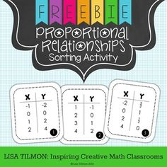 (CCSS: 7.RP.A.2) This engaging proportional relationships activity allows students to sort proportional and nonproportional relationships represented as table of values. The record sheet prompts students to support their conclusions with evidence of graphs and equations.