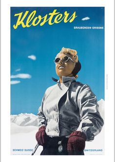 """PEDRETT """"Klosters"""" woman sun shades KNOCKOUT CANVAS print of vintage poster"""