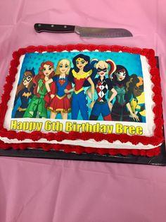 DC superhero girls cake.  Image printed by Edible Images - Toronto.