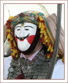 The mask of Yianitsaros, Naousa, Macedonia Greece Yianitsaros means Jannisary and is the festival to pay homage to the Greeks of Macdonia who were taken and indoctrinated by Ottoman Turks, Bulgarians and communists to fight against their own people History of Macedonia the ancient kingdom of Greece in modern times