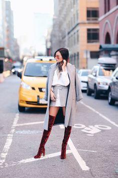 We Wore What - Over the knee burgundy velvet boots, grey mini & coat