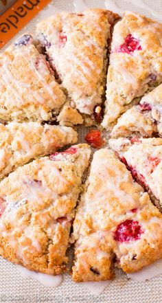 Wild Fruit Punch Scones filled with cranberry, strawberry, lemon, and lots of sweet glaze! Breakfast Scones, Savory Breakfast, Sweet Breakfast, Healthy Breakfast Recipes, Healthy Baking, Brunch Recipes, Scone Recipes, Savory Scones, Fruit Scones