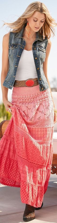 Love that color in lace, but with long sleeve denim jacket!