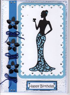Tattered Lace Olivia in blue. Card by sue elvin.