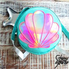 Mermaid El Wire Round Backpack . Clam Shell Rave by TheGLOWSTROBE