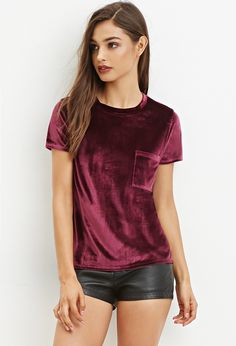 Velvet Pocket Top - Shop All - 2000147335 - Forever 21 EU English