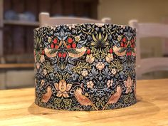 William Morris, 'Strawberry Thief', Blue handmade lampshade - various sizes and coloured inner linings and fittings Fabric Lampshade, Lampshades, Alexander Henry Fabrics, Single Bedroom, Standard Lamps, William Morris, Blue Fabric, Drum, Floor Lamp