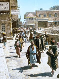 Hand-colored Jerusalem street scene (near the Jaffa Gate entrance to the Old City) - in the 1890s. It doesn't look too different today.