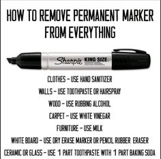The best DIY projects & DIY ideas and tutorials: sewing, paper craft, DIY. Ideas About DIY Life Hacks & Crafts 2017 / 2018 Cleaning Tip - Get permanent marker off everything with these laundry tips. Also Life Hacks You Needed to Household Cleaning Tips, House Cleaning Tips, Diy Cleaning Products, Cleaning Hacks, Cleaning Solutions, Cleaning Recipes, Cleaning Schedules, Cleaning Items, Cleaning Equipment