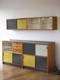 COLOURS and furniture style. Frank Guille, Trimma Kitchen Units for Kandya, Plywood Kitchen, Plywood Cabinets, Plywood Furniture, Kitchen Furniture, Modern Furniture, Home Furniture, Furniture Design, Bauhaus Furniture, Furniture Dolly