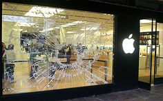 Apple store window display - bursting glass from new ipod hi-fi Window Display Retail, Retail Windows, Mall Facade, Branding, Shop House Plans, Decoration, Exterior Design, Vintage Shops, Illustration