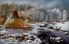 """""""Winters Refuge"""" 20""""x30"""" framed original oil - Shades of Winter - Recently Sold Original Oils by J. Hester"""