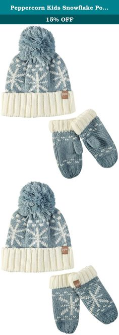 5eaf2bab6d5a80 Peppercorn Kids Snowflake Pompom Beanie and Mitten Set S (1-2y), Frost