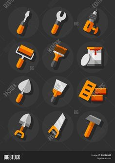 working tools for construction and repair flat icons set eps10 vector illustration