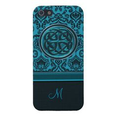 Monogram Blue Damask with Celtic Knot iPhone Case  #Celtic #Vintage #damask #iPhone