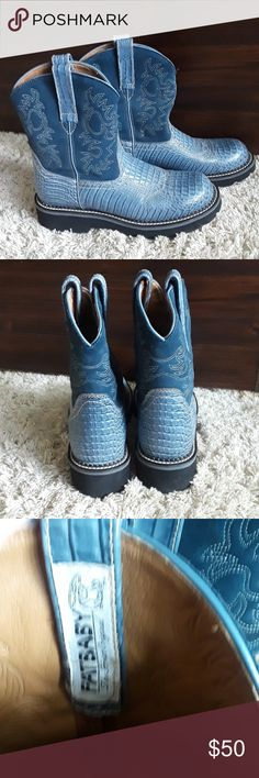 Artist Fat Baby Boots Blue leather lizard skin embossed fat baby boots. Worn only once. Like new. No box. Shoes Heeled Boots