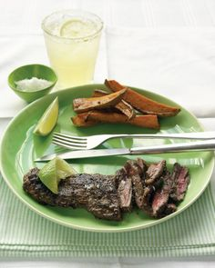 Skirt Steak with Crispy Garlic Potatoes | Recipe | Skirt Steak, Steaks ...