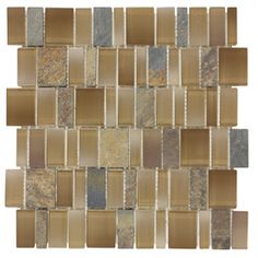 Elida Ceramica Monarch Earth Mixed Material (Stone and Glass) Mosaic Linear Indoor/Outdoor Thinset Mortar Wall Tile (Common: 12-In x 12-In; Actual: 11.25-in x 11.75-in)