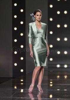 Sheath Satin V-neck Empire Knee-Length Mother of the Bride Dress - Gopromdress.co.uk