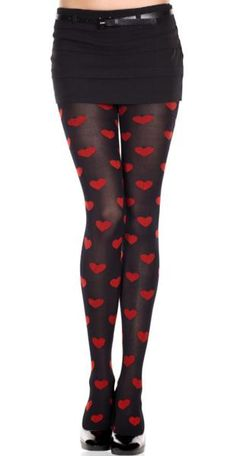 Red Queen of Hearts Black Pantyhose. One sizes fits most: Small to Large.