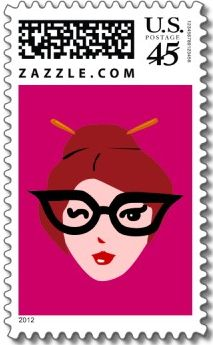 geek girl postage stamp