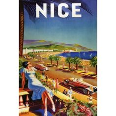 PROMENADE IN NICE FRENCH RIVIERA FASHION WOMAN LUXURY CARS BEACH FRANCE TRAVEL LARGE VINTAGE POSTER ON CANVAS REPRO