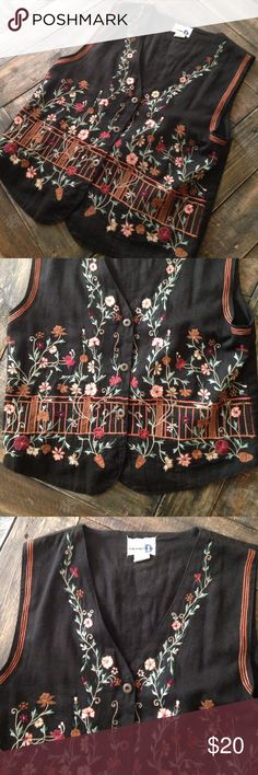 Vintage 80s Paul Harris Design embroidered vest Vintage 80s Paul Harris design black Floral embroidered vest. No threads coming loose. Good condition. No rips or stains. All buttons accounted for. Size small Vintage Jackets & Coats Vests