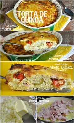 Torta de Quinoa, quinoa, ovos, tomatinhos sweet, queijo, presunto, azeitona, cebola, alho, orégano e pimenta do reino, junta tudo e leva para o forno!
