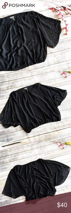 Vince Camuto Stunning Rhinestone Batwing Top  ★ Like new condition!  ★ This amazing Vince Camuto black batwing chiffon top is covered in rhinestones and truly beautiful! Get this top now, it is perfect for summer!  ★ 100% Polyester. ★ NO TRADES!   ★ NO MODELING!  ★ YES REASONABLE OFFERS! ✅ ★ Measurements available by request and as soon as possible.  Vince Camuto Tops Blouses