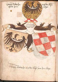 Herb księcia żagańskiego Baltazara z Wernigeroder Wappenbuch (ok. 1475–1500)