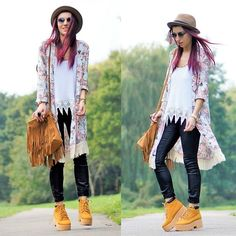 Romwe Boots, Tomtop Fringe Bag, New Look Pants, Choies Kimono, Sunglasses, Style Moi White Top, Internacionale Hat