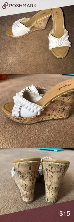 Cork Wedges Wedges perfect for summer. Cute white ruffle strap Qupid Shoes Wedges
