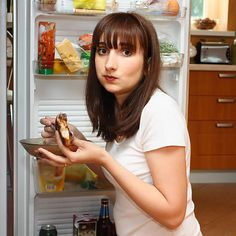 You Eat While Standing Up Standing at the fridge or the counter to chow down isn't saving time or energy and can lead to mindless eating. It's best to designate time for snacking and meals that's set apart from other activities.