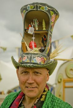 Simon Costin wearing hat designed by Stephen Jones for the Museum of British Folklore